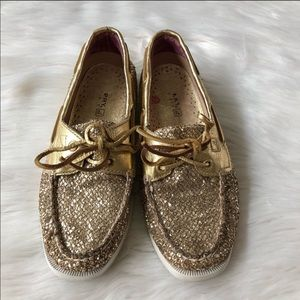 Sperry Gold Sparkle Loafers Size 5.5